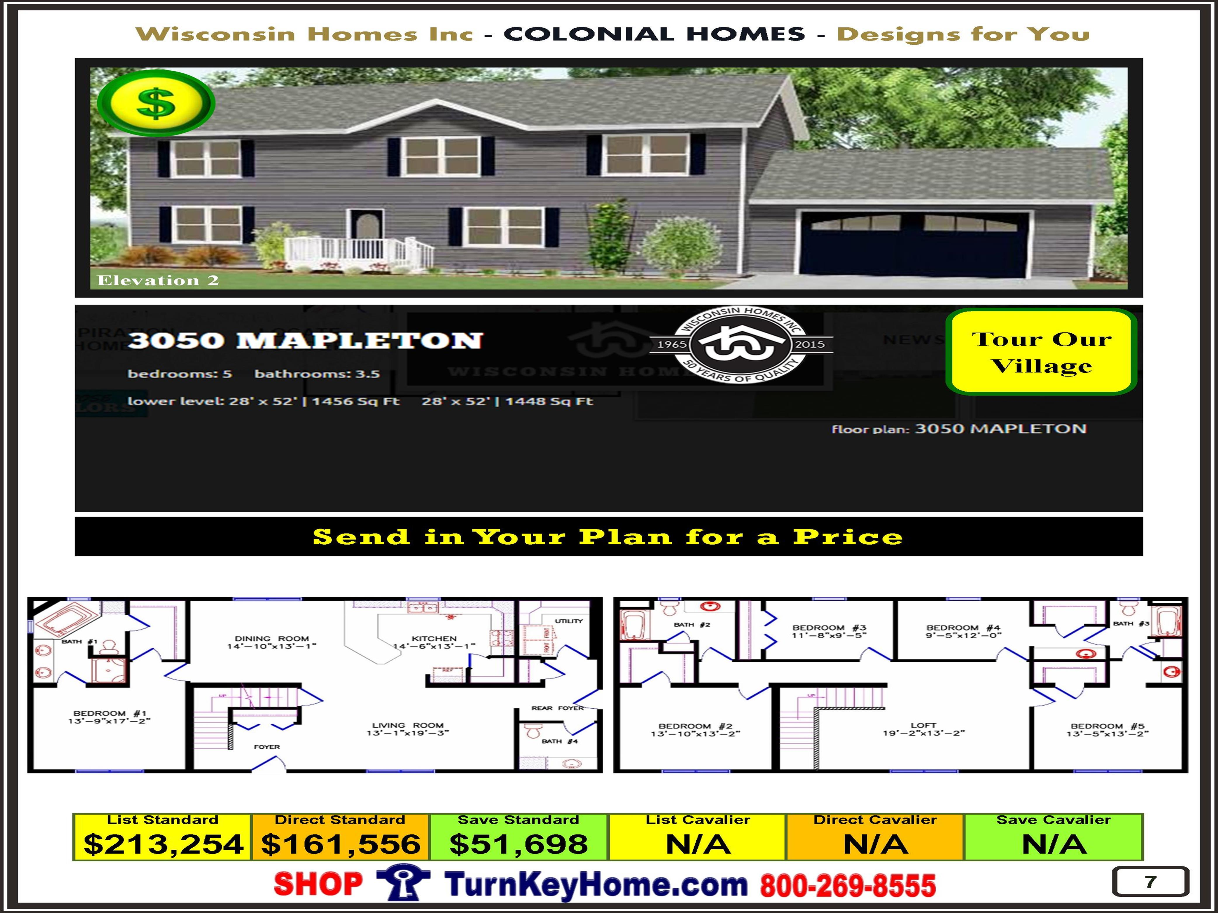 3050 MAPLETON E2 Wisconsin Homes inc. Modular Colonial Home Plan Price