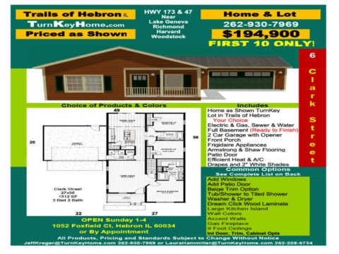 $194,900 Hebron, IL Home & Lot Pkg