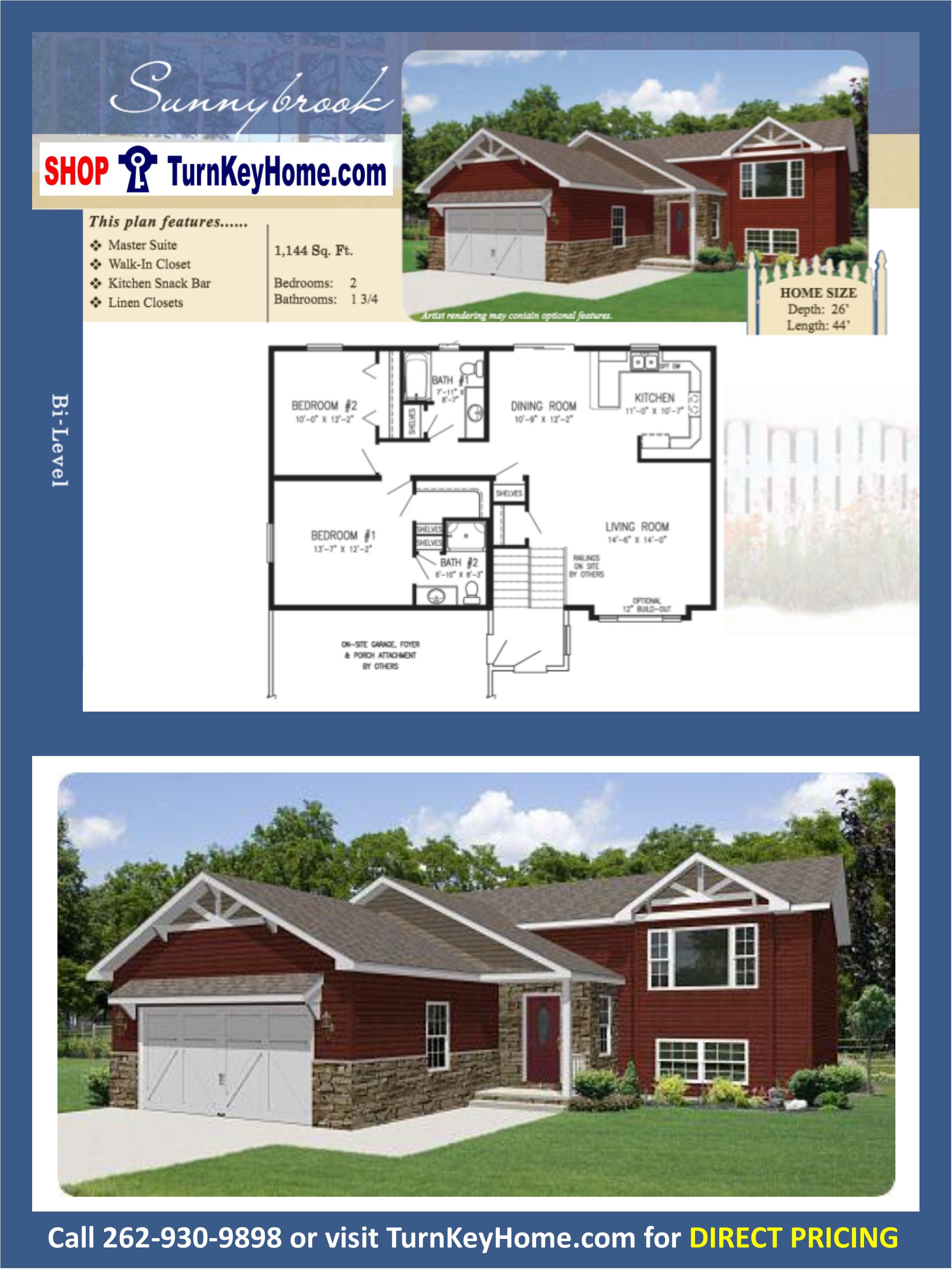SUNNYBROOK Bi-Level Home 2 Bed 1.75 Bath Plan 1144 SF Priced From ...