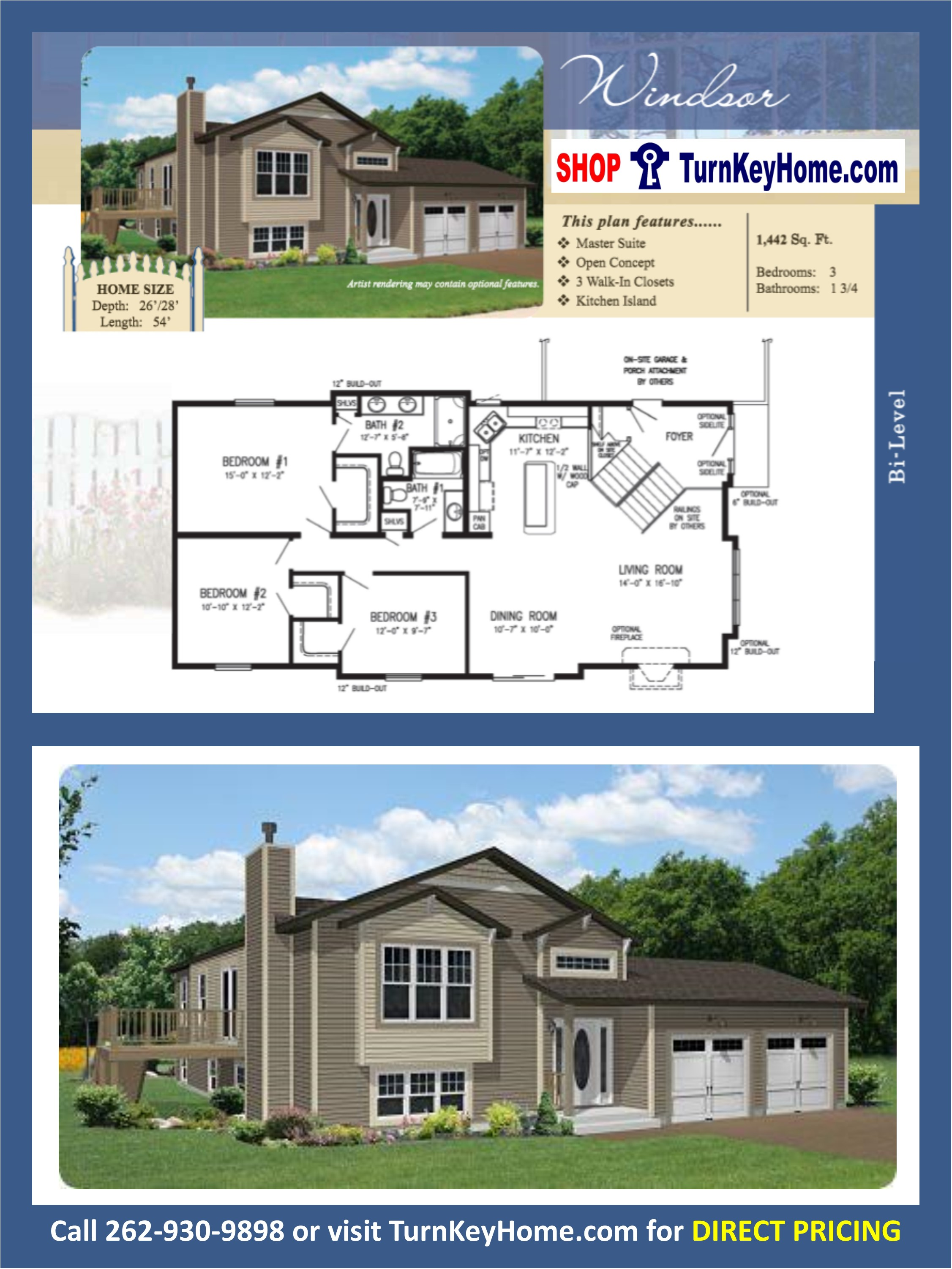 WINDSOR Bi-Level Home 3 Bed 1.75 Bath Plan 1442 SF Priced From ...