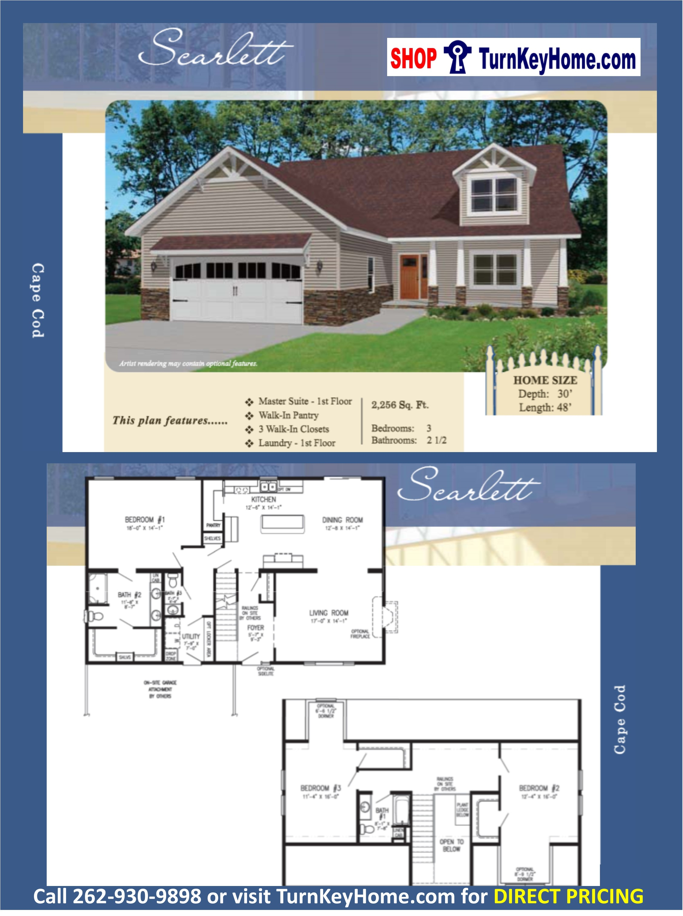 SCARLETT Cape Cod Home 3 Bed 2.5 Bath Plan 2256 SF Priced From ...