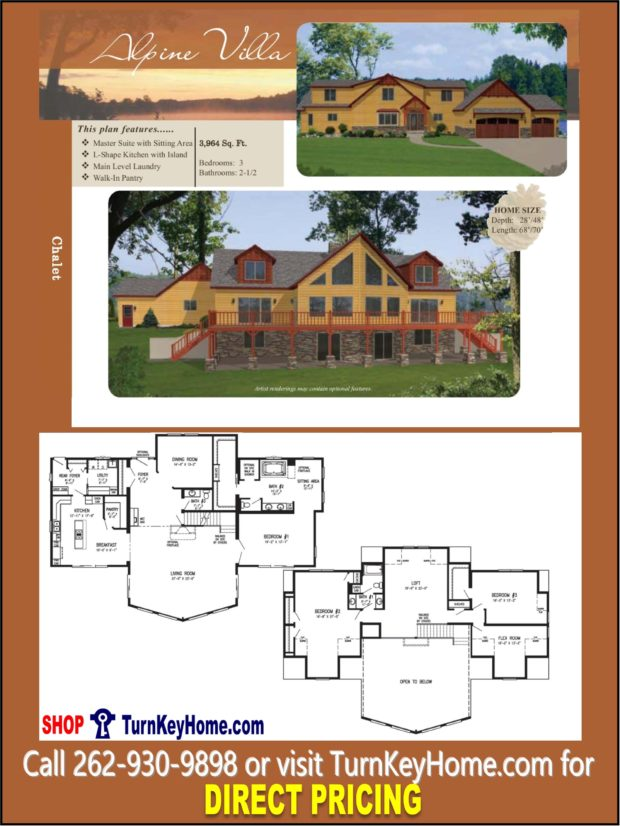 ALPINE VILLA Chalet Home 3 Bed 2.5 Bath Plan 3964 SF Priced From ...