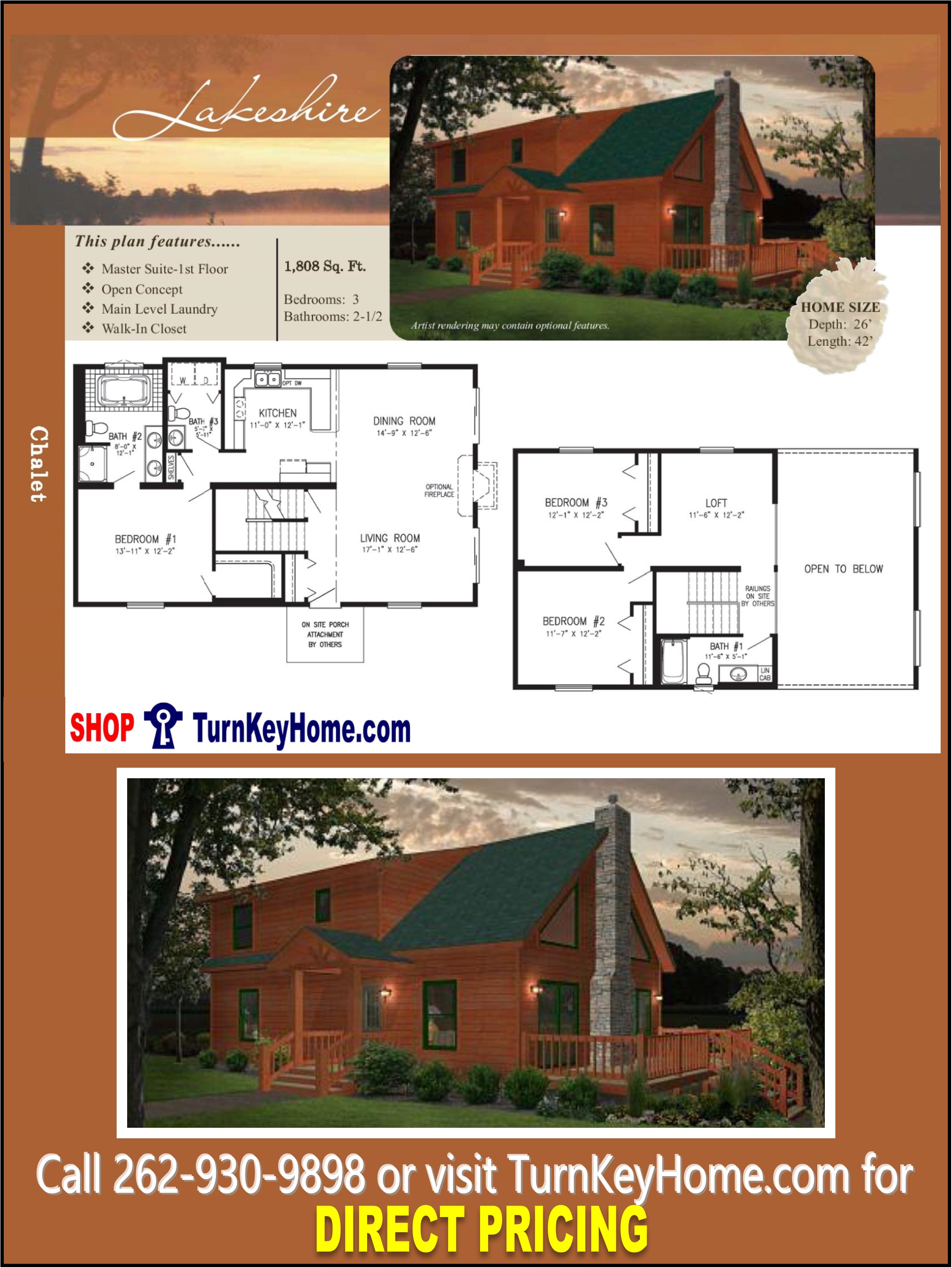 Lakeshire chalet home 3 bed 2 5 bath plan 1808 sf priced for Direct from the designers house plans