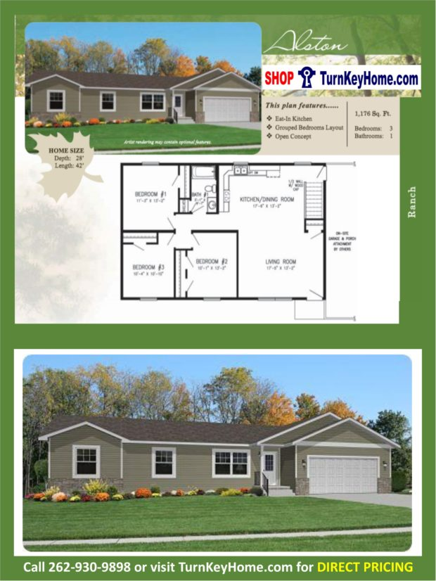 Alston ranch home 3 bed 1 bath plan 1176 sf priced from Rancher homes