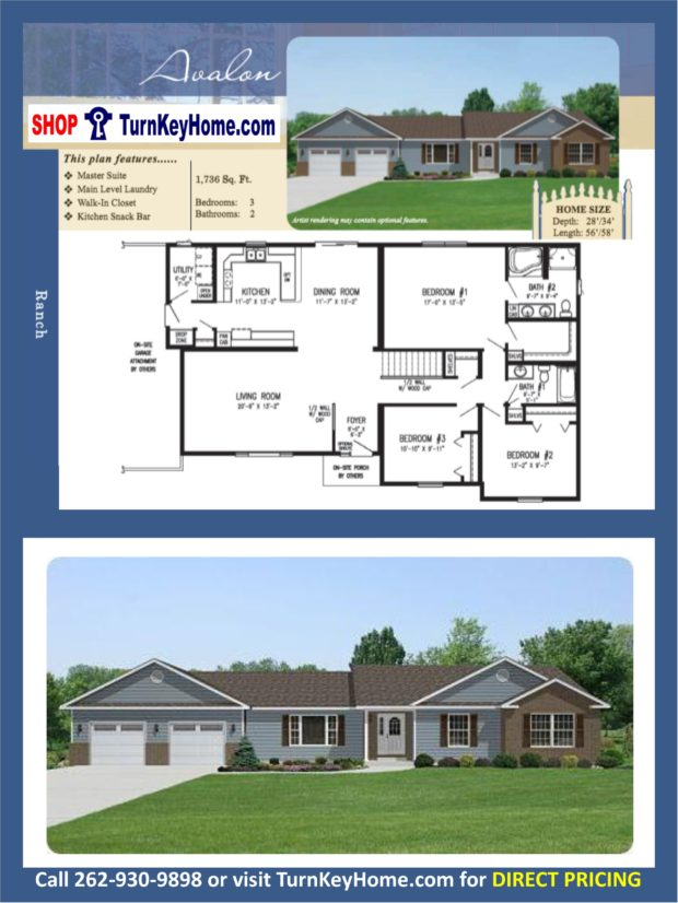 Avalon ranch home 3 bed 2 bath plan 1736 sf priced from Rancher homes