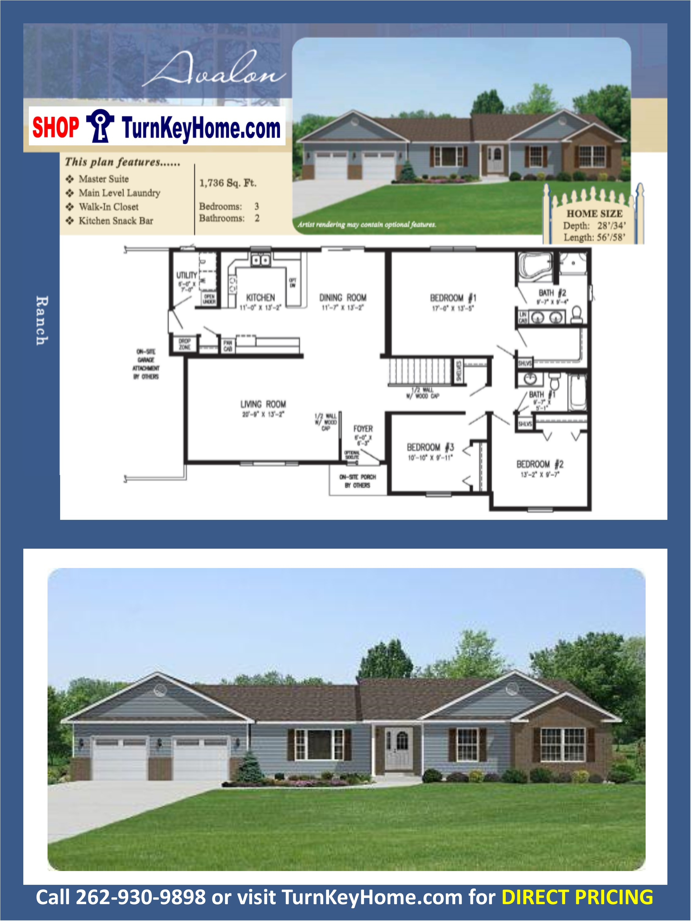AVALON Ranch Home 3 Bed 2 Bath Plan 1736 SF Priced From Stratford ...