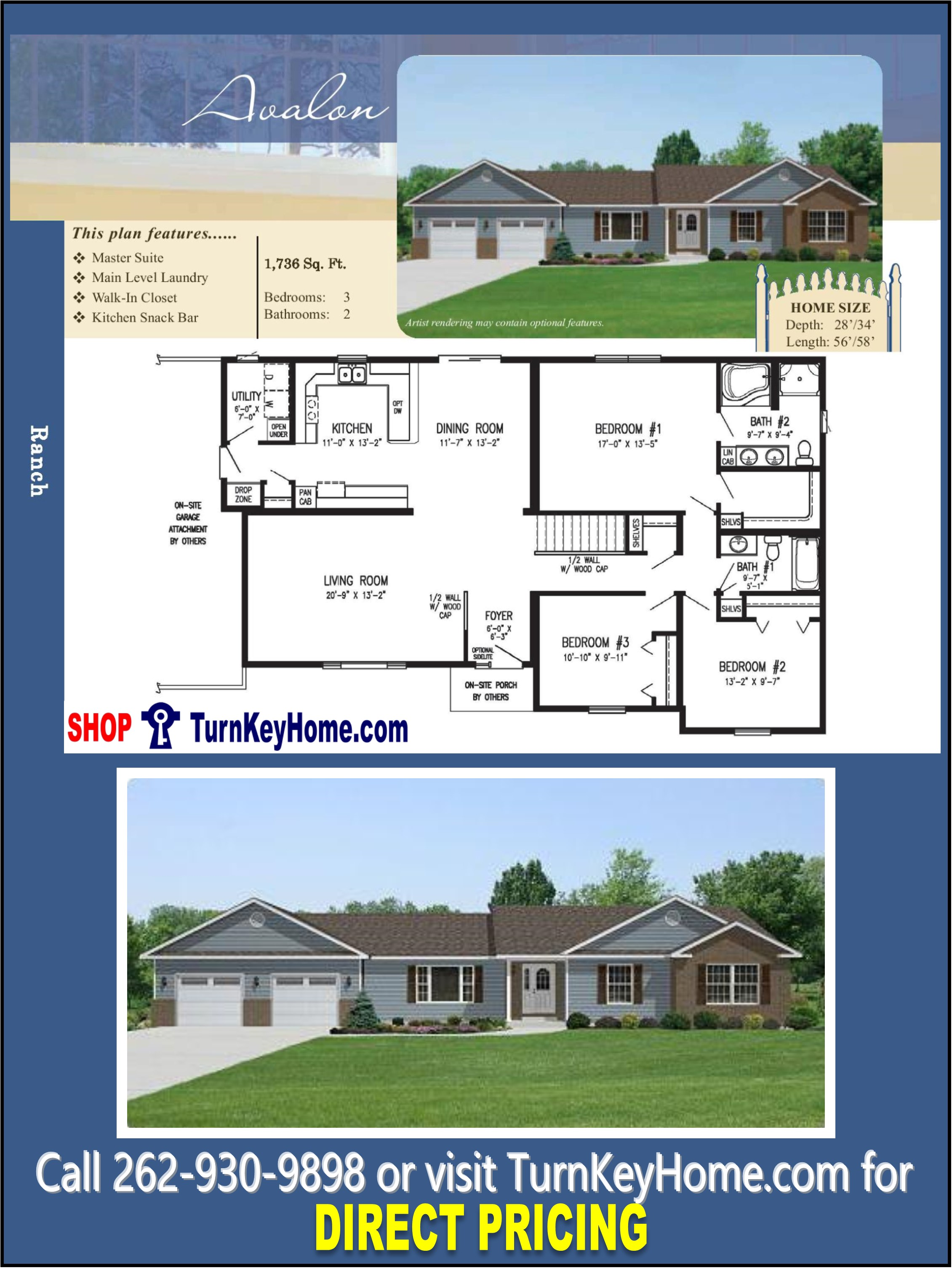 Avalon ranch home 3 bed 2 bath plan 1736 sf priced from for Direct from the designers house plans