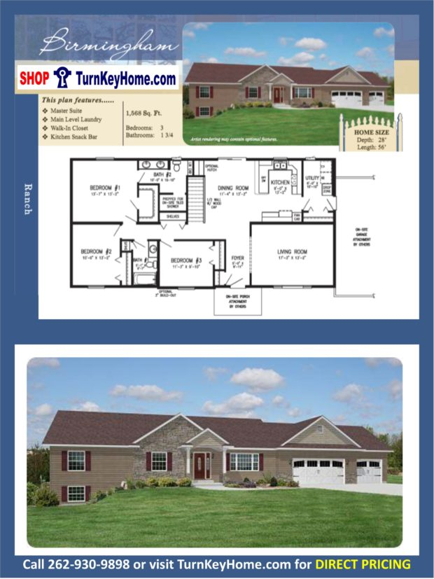 Birmingham ranch home 3 bed 2 bath plan 1568 sf priced Rancher homes