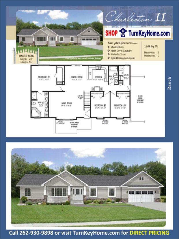 Charleston ll ranch home 3 bed 2 bath plan 1568 sf priced Rancher homes