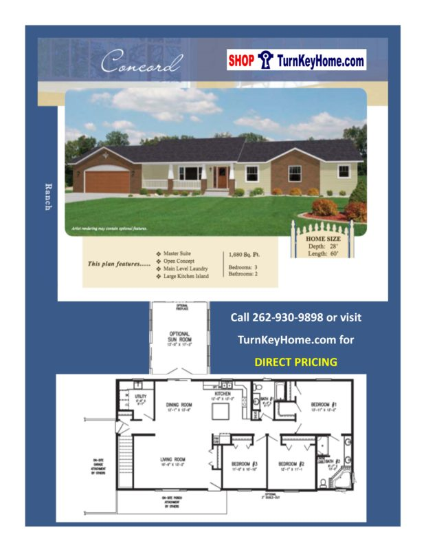 Concord ranch home 3 bed 2 bath plan 1680 sf priced from Rancher homes