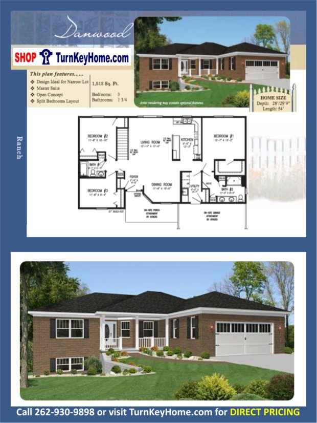 Danwood ranch home 3 bed bath plan 1512 sf priced Rancher homes