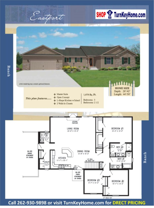 Eastport ranch home 3 bed 2 5 bath plan 1678 sf priced Rancher homes
