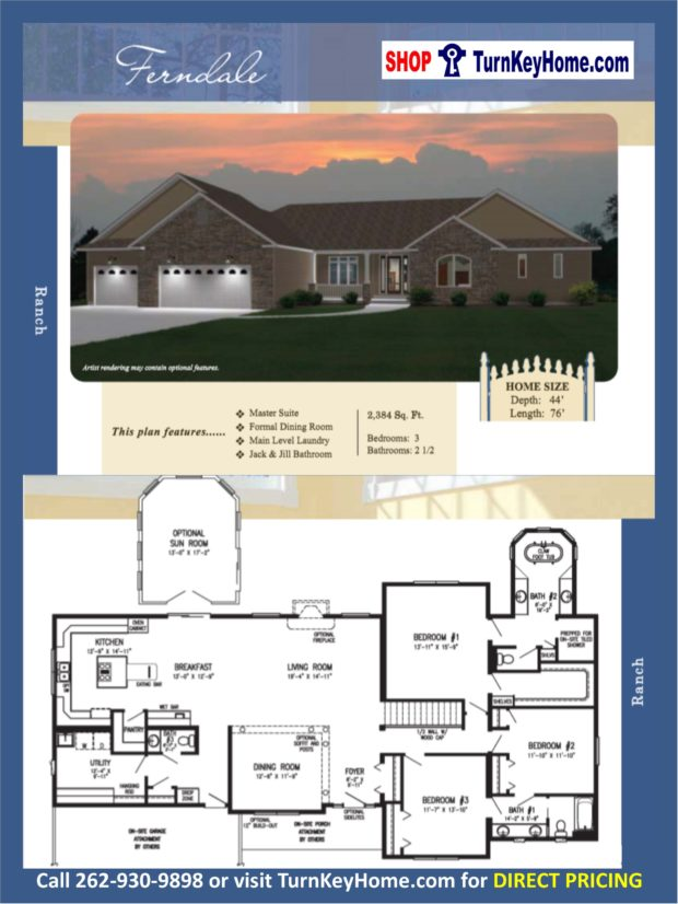 Ferndale ranch home 3 bed 2 5 bath plan 2384 sf priced Rancher homes