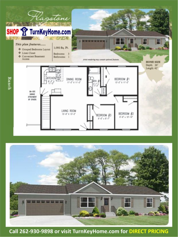 Flagstone ranch home 3 bed 1 bath plan 1092 sf priced from Rancher homes