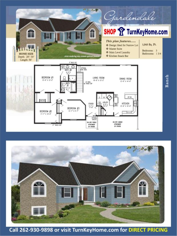 Gardendale Ranch Home 3 Bed Bath Plan 1543 Sf Priced: rancher homes