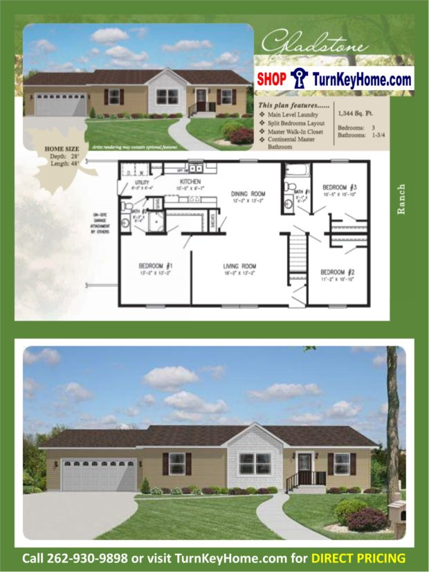 Gladstone ranch home 3 bed bath plan 1344 sf priced Rancher homes