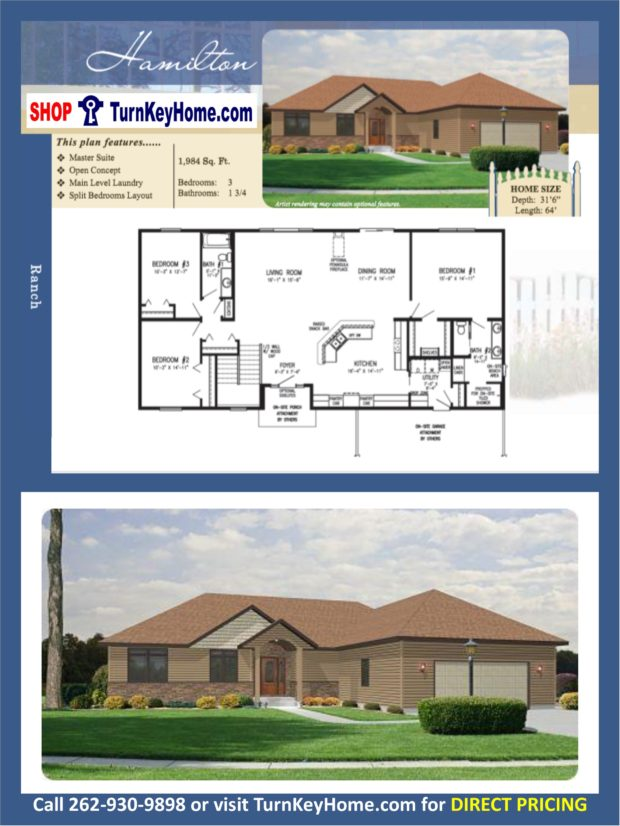 Hamilton ranch home 3 bed bath plan 1984 sf priced Rancher homes