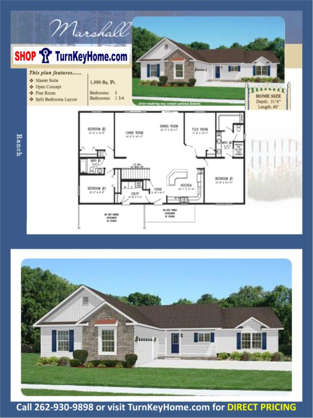 Marshall ranch home 3 bed bath plan 1890 sf priced Rancher homes