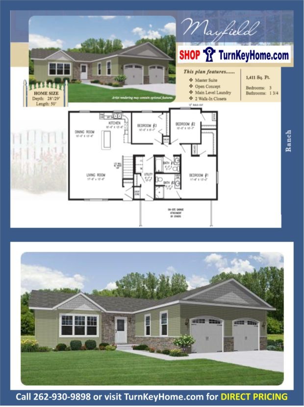 Mayfield ranch home 3 bed bath plan 1411 sf priced Rancher homes