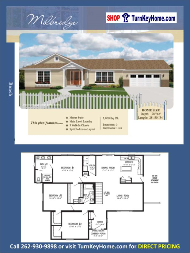 Milbridge ranch home 3 bed bath plan 1803 sf priced Rancher homes