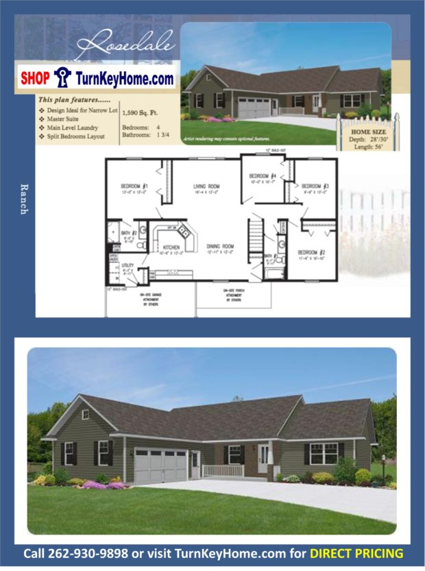Rosedale ranch home 4 bed bath plan 1590 sf priced Rancher homes