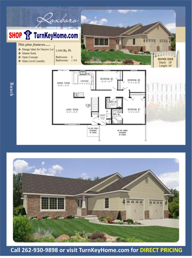Roxboro ranch home 3 bed bath plan 1344 sf priced Rancher homes
