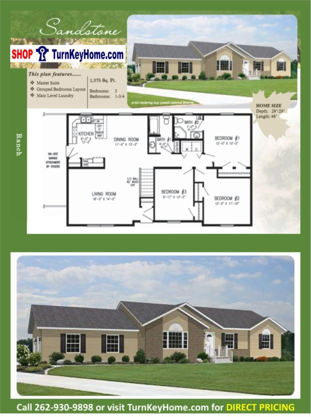 Sandstone ranch home 3 bed bath plan 1375 sf priced Rancher homes
