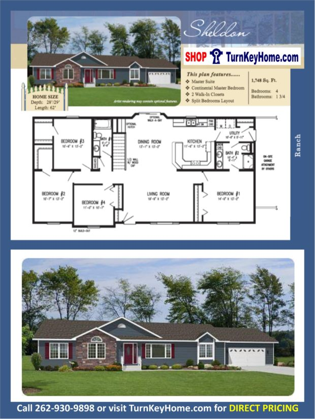 Sheldon ranch home 4 bed bath plan 1748 sf priced Rancher homes