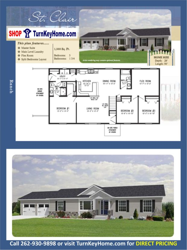 St clair ranch home 3 bed bath plan 1568 sf priced Rancher homes
