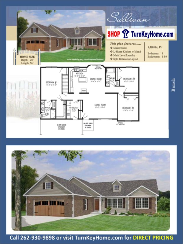 Sullivan ranch home 3 bed bath plan 1568 sf priced Rancher homes
