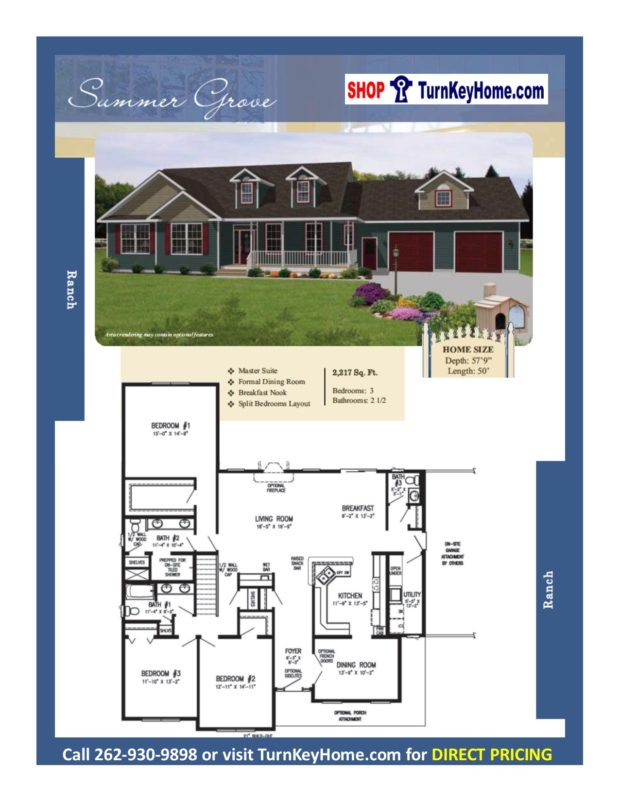 Summer grove ranch home 3 bed 2 bath plan 2217 sf priced Rancher homes