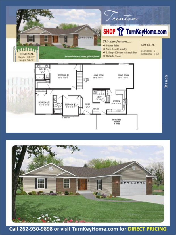 Trenton ranch home 3 bed bath plan 1578 sf priced Rancher homes