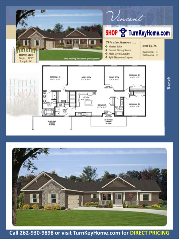 Vincent ranch home 3 bed 2 bath plan 2016 sf priced from Rancher homes