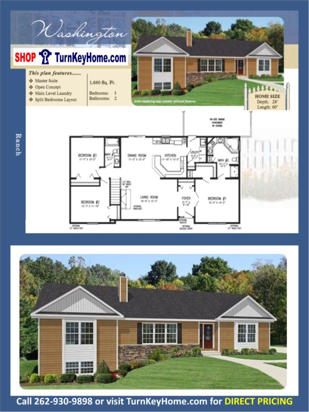 Washington ranch home 3 bed 2 bath plan 1680 sf priced Rancher homes