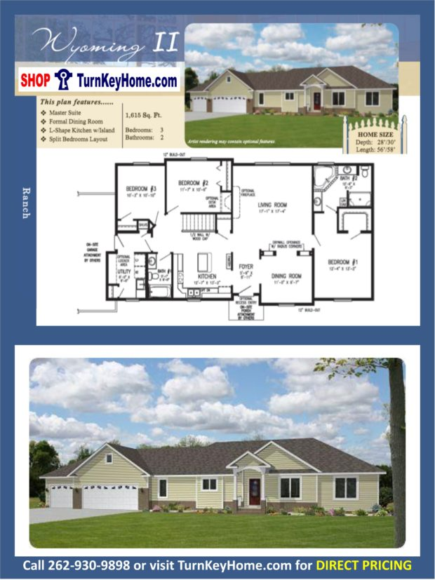 Wyoming ll ranch home 3 bed 2 bath plan 1615 sf priced Rancher homes