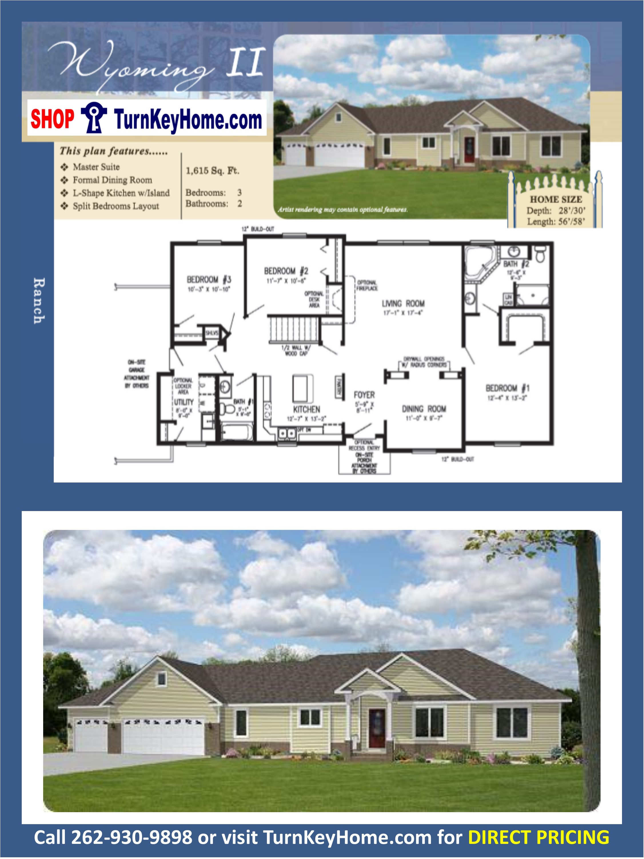 WYOMING ll Ranch Home 3 Bed 2 Bath Plan 1615 SF Priced From ...