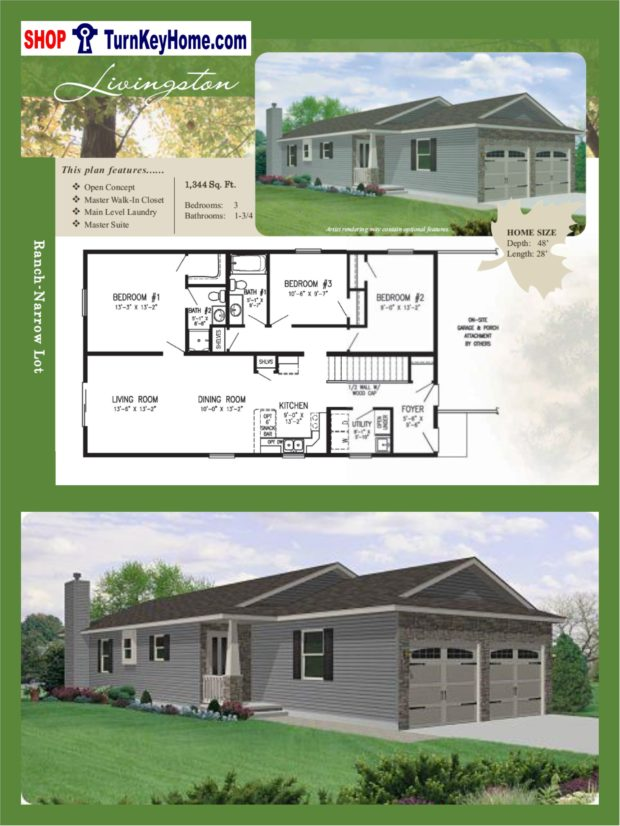 Livingston narrow lot ranch home 3 bed bath plan 1512 for Narrow modular homes