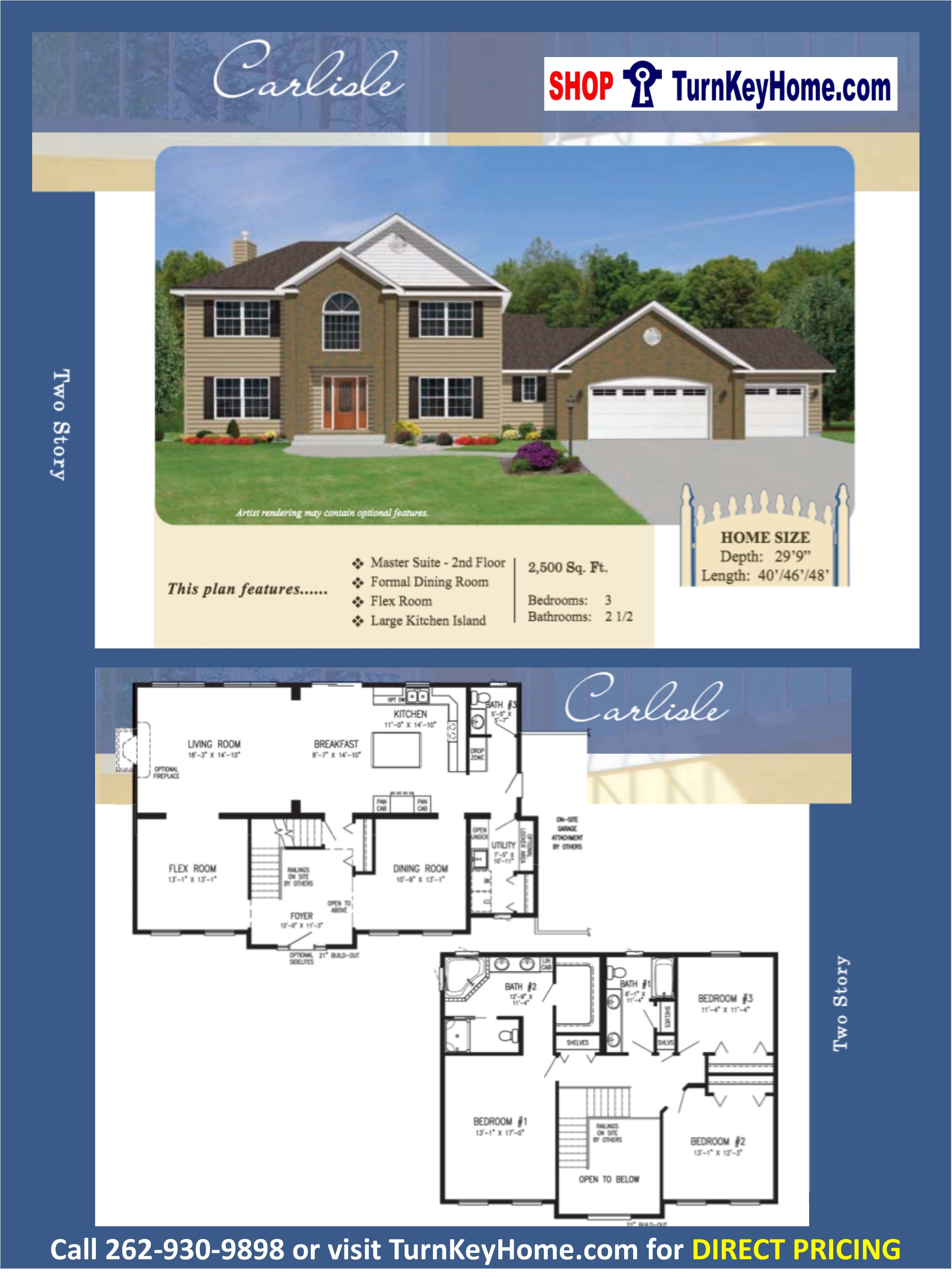 CARLISLE Two Story Home 3 Bed 2.5 Bath Plan 2500 SF Priced From ...