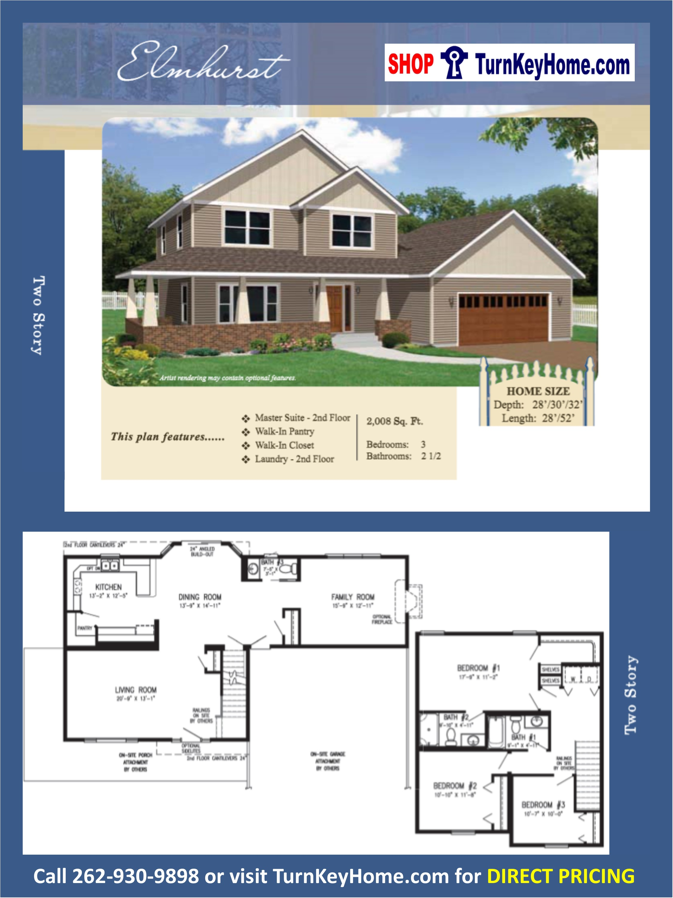 ELMHURST Two Story Home 3 Bed 2.5 Bath Plan 1008 SF Priced From ...