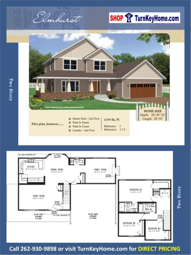 Elmhurst two story home 3 bed 2 5 bath plan 1008 sf priced for 2 story house price
