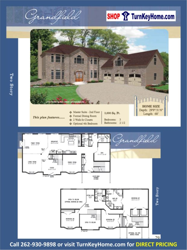 Grandfield two story home 3 bed 2 5 bath plan 3690 sf for 2 story house price