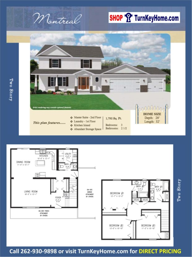 Montreal two story home 3 bed 2 5 bath plan 1792 sf priced for 2 story house price
