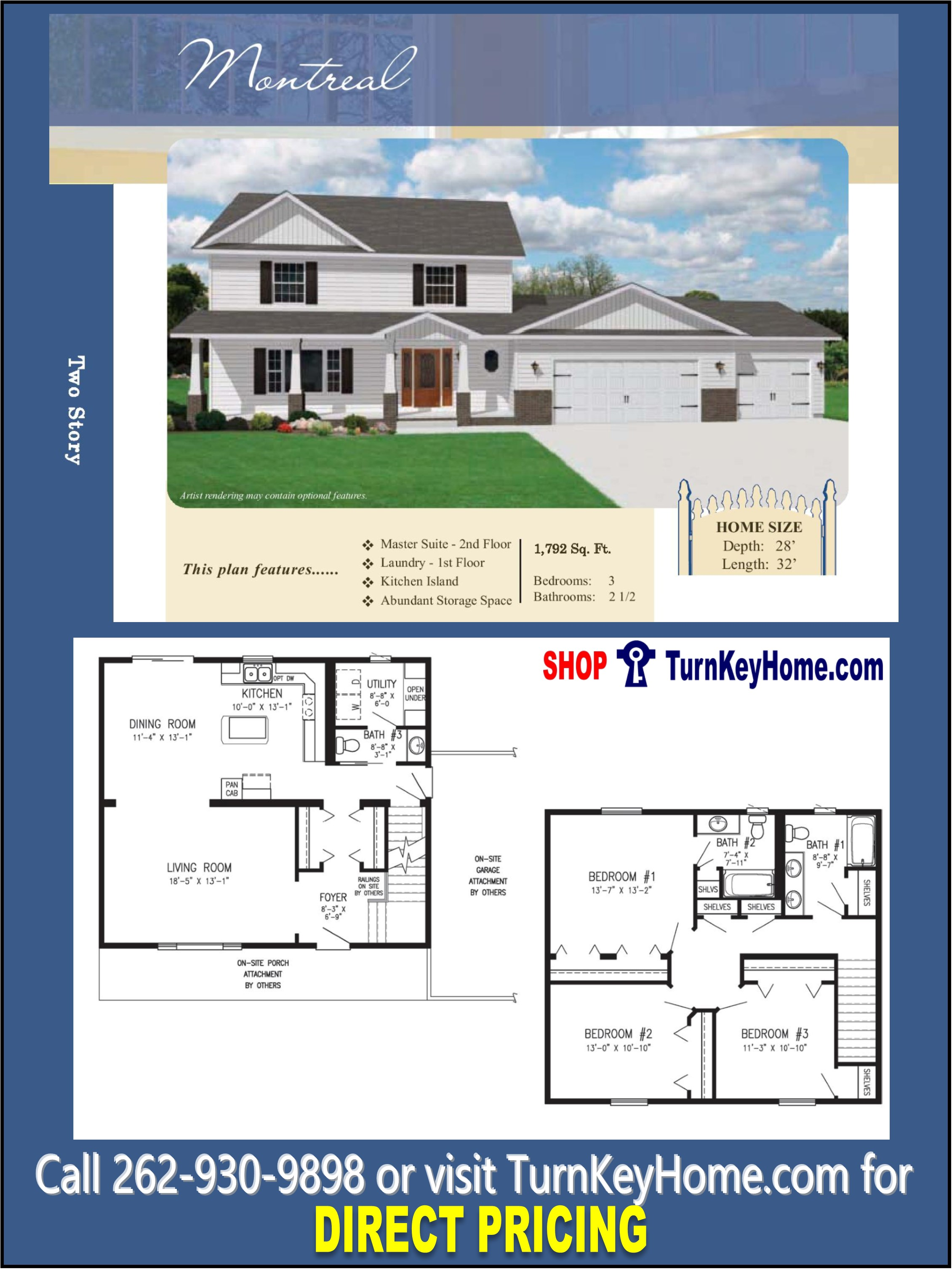 Montreal two story home 3 bed 2 5 bath plan 1792 sf priced for Direct from the designers house plans
