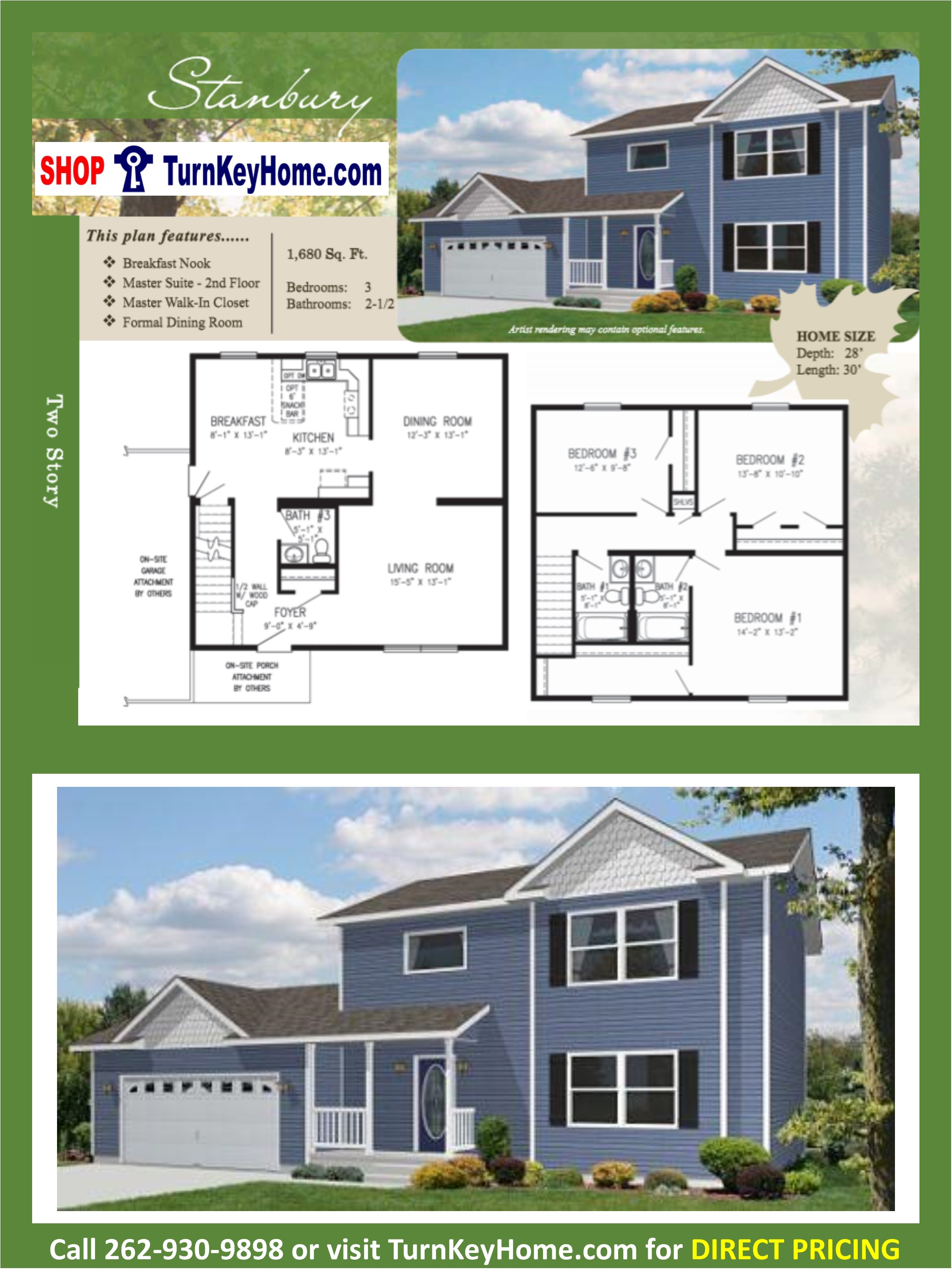 STANBURY Two Story Home 3 Bed 2.5 Bath Plan 1680 SF Priced From ...
