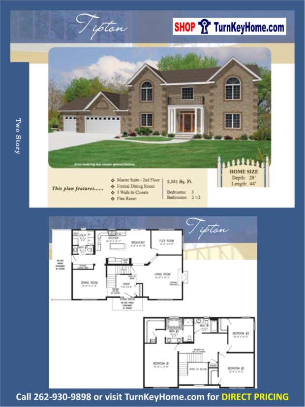 Tipton two story home 3 bed 2 5 bath plan 2351 sf priced for 2 story house price