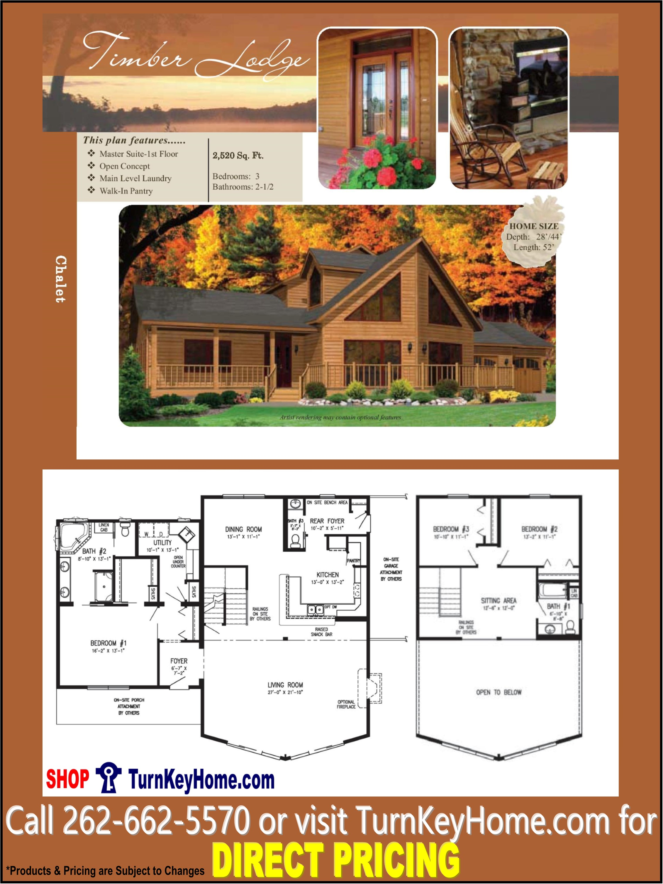 TIMBER LODGE Chalet Home 3 Bed 2 5 Bath Plan 2520 SF Priced From
