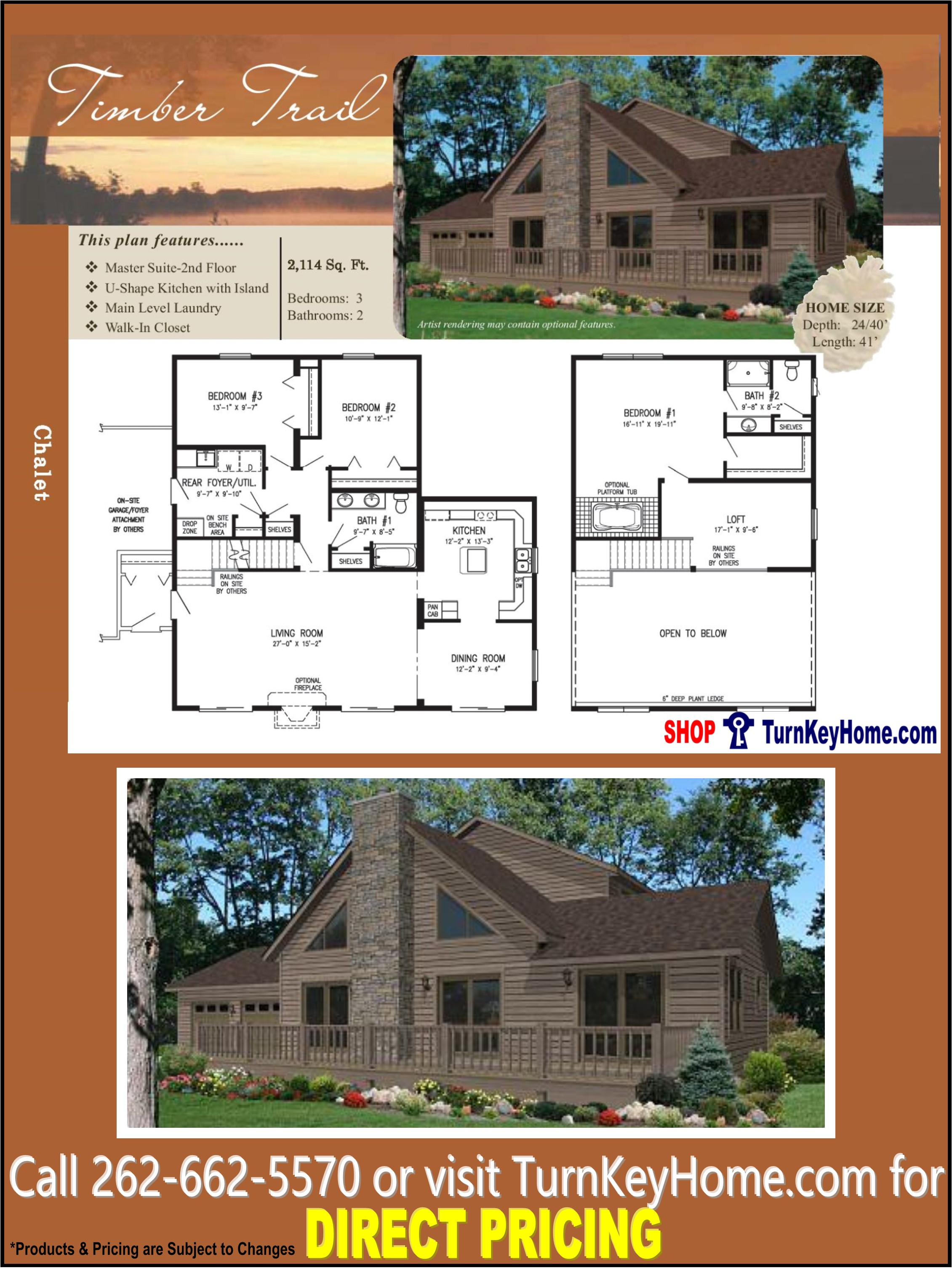 TIMBER TRAIL Chalet Home 3 Bed 2 Bath Plan 2114 SF Priced From