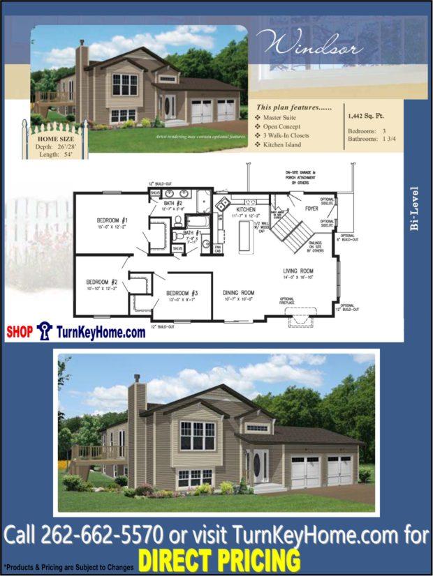 Windsor Bi Level Home 3 Bed 1 75 Bath Plan 1442 Sf Priced
