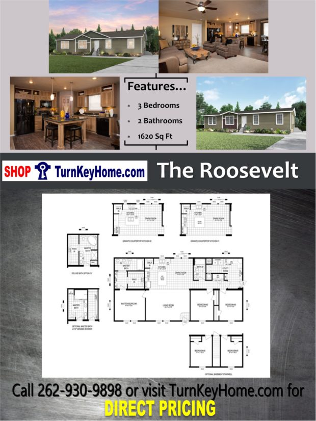 The roosevelt home 3 bed 2 bath plan 1620 sf priced from for Direct from the designers house plans
