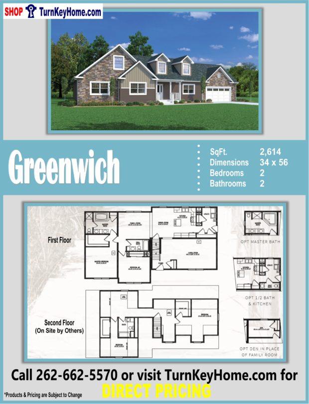 GREENWICH Cape Cod Style Home 2 Bed 2 Bath Plan 2614 SF